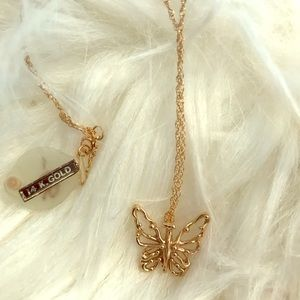 14kt gold butterfly necklace